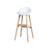 2x Bar Stool Beech Wood Barstools Dining Chair Kitchen Leather White