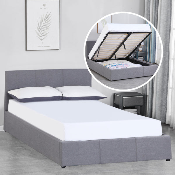Milano Luxury Gas Lift Bed with Headboard - Grey - Double