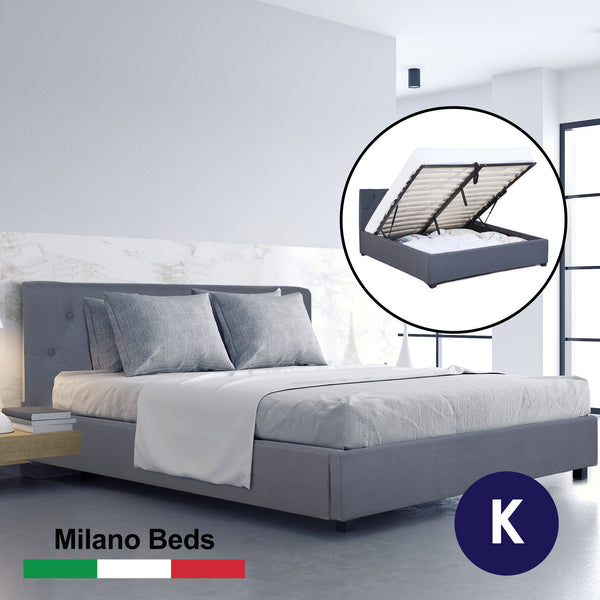Milano Capri Luxury Gas Lift Bed With Headboard - Grey - King