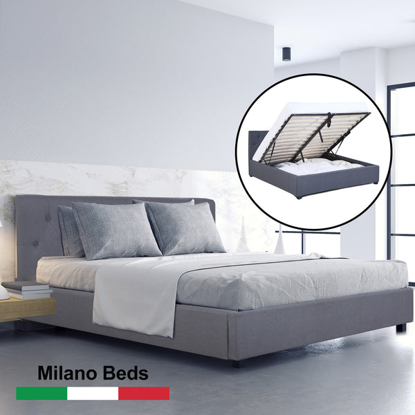 Milano Capri Luxury Gas Lift Bed With Headboard - Charcoal - King Single