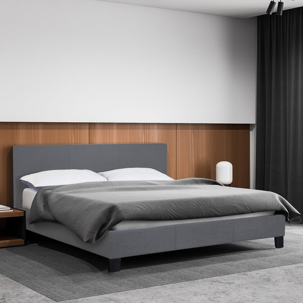 Milano Sienna Luxury Bed with Headboard - Grey - Single