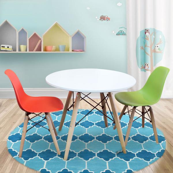 Timber Kids Play Table and Chairs 3PCS Package -1 x White Table 2 x Green  Red Chairs