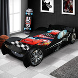 Black Turbo Design Kids Racing Car Bed For Boys