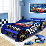 Unique Design For Kids Racing Car Night Single Bed Blue