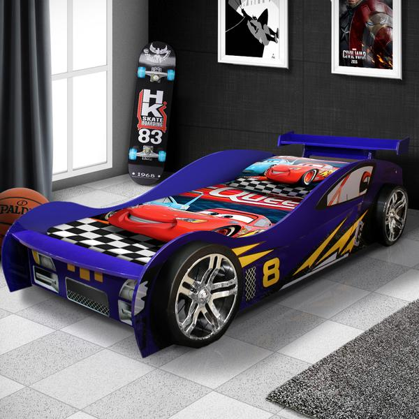 New Model McLaren Kids Night Racing Car Bed - Blue