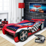 Unique Design For Kids Racing Car Night Single Bed Red
