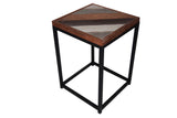 Accent Table Wooden top Metal Frame Nightstand Side Table Lounge Bedroom