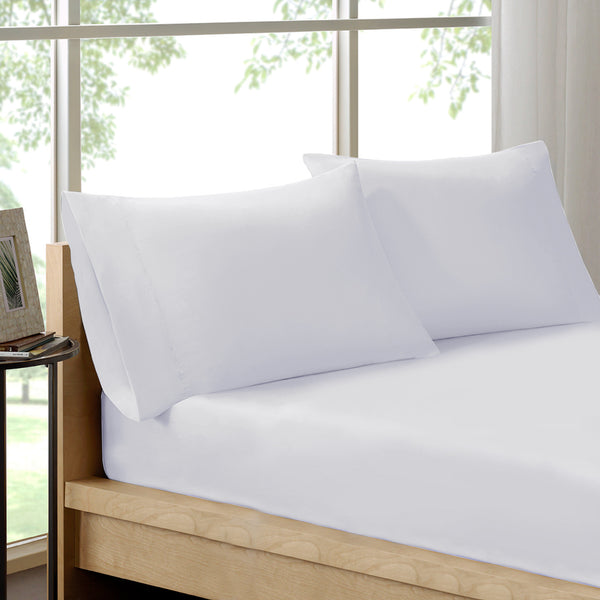 Royal Comfort - 100% Organic Cotton 3 Piece Fitted Combo Set - Double-White