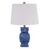 Blue-Owl-Bedside-Lamp-mid-blue-gloss-ceramic-with-shade-DD-29018-afterpay-klarna-laybuy