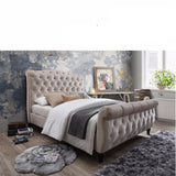 Jasmine Chesterfield - Sleigh Double Size Fabric Bedframe