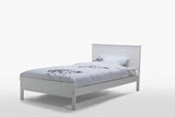 Rojo Matt White King Single Solid Rubber Wood Simple Bed Frame