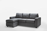 Ella Grey 3 Seater Corner Lounge Modular Fabric Reversible Chaise Sofa