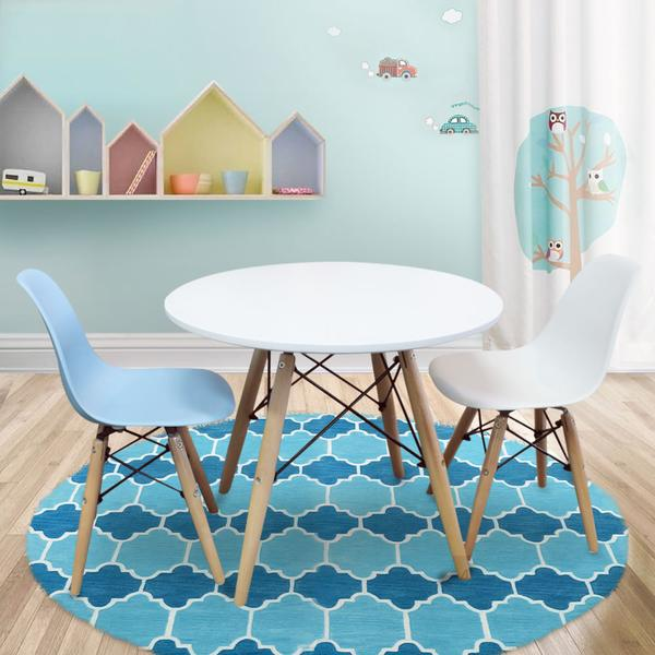 Timber Kids Play Table and Chairs 3PCS Package -1 x White Table 2 x White Blue Chairs