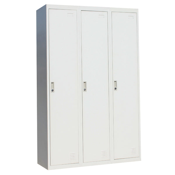 Three-Door Side by Side Office Gym Shed Storage Locker