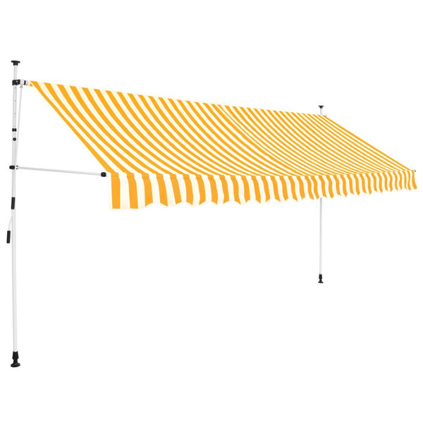 Manual Retractable Awning 400 cm Yellow and White Stripes