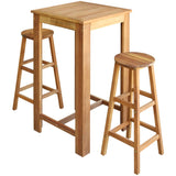 Three Piece Bar Table and Stool Set Solid Acacia Wood