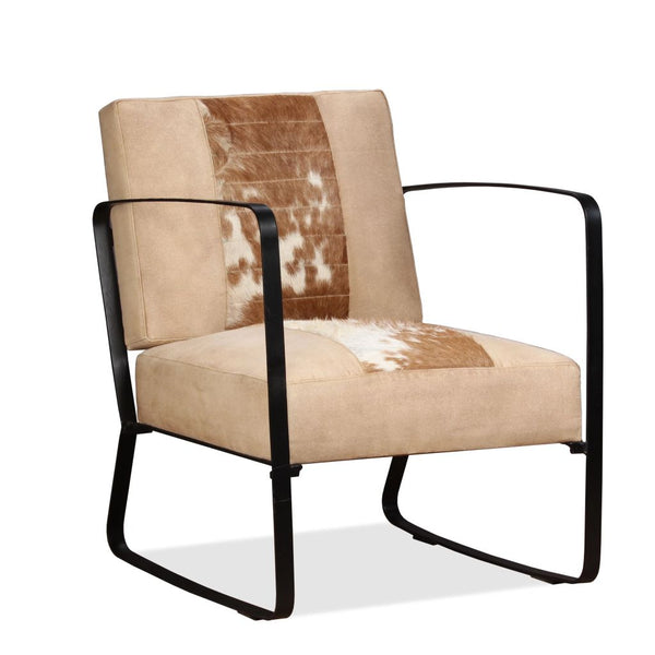 Lounge Chair Genuine Goatskin and Canvas Cream