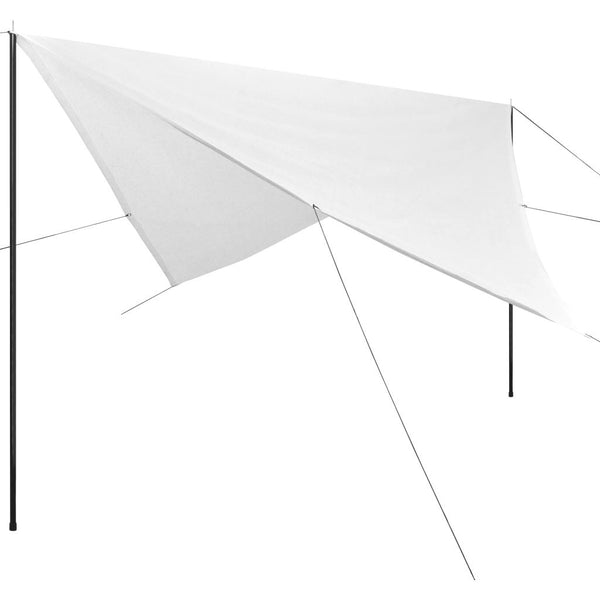 Sunshade Tarp with Poles HDPE Square 4x4 m White
