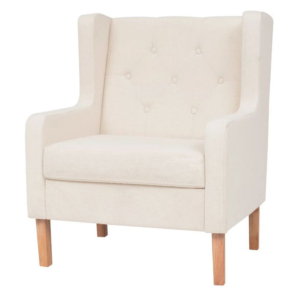 Armchair Fabric Cream White