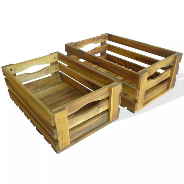 Apple Crates 2 pcs Solid Acacia Wood
