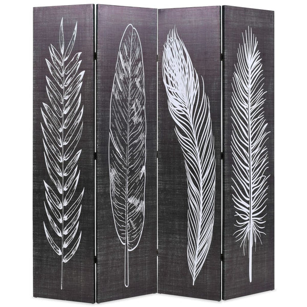 Folding Room Divider 160x180 cm Feathers Black and White