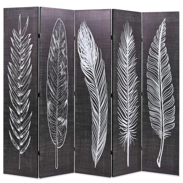Folding Room Divider 200x180 cm Feathers Black and White