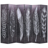 Folding Room Divider 228x180 cm Feathers Black and White