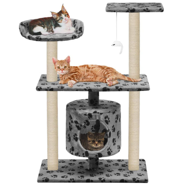 Cat Tree with Sisal Scratching Posts 95 cm Grey Paw Prints