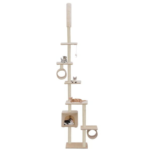 Cat Tree with Sisal Scratching Posts 260 cm Beige