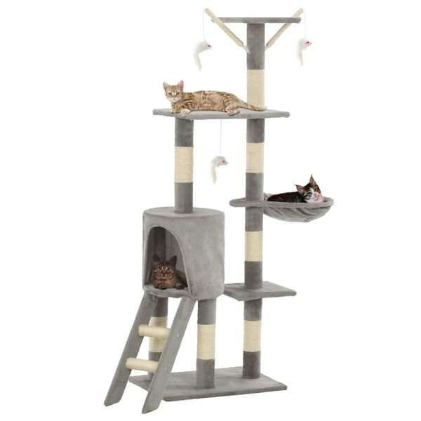 Cat Tree with Sisal Scratching Posts 138 cm Grey