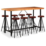9 Piece Bar Set Solid Sheesham Wood and Genuine Leather