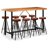 9 Piece Bar Set Solid Sheesham Wood, Genuine Leather & Canvas