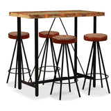 5 Piece  Bar SetSolid Reclaimed Wood, Genuine Leather & Canvas