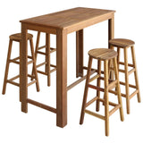 Bar Table and Stool Set 5 Pieces Solid Acacia Wood