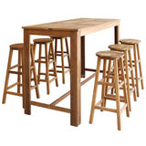 Bar Table and Stool Set 7 Pieces Solid Acacia Wood