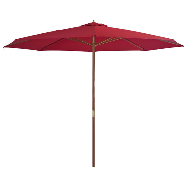 Outdoor Parasol with Wooden Pole 350 cm Burgundy
