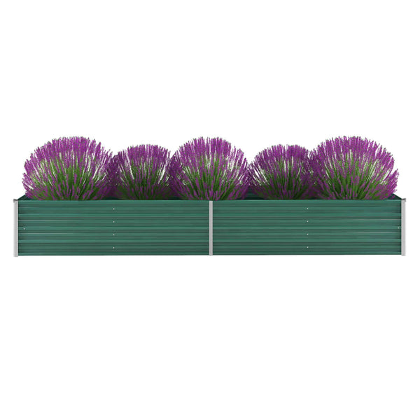 Garden Planter Galvanised Steel 320x80x45 cm Green