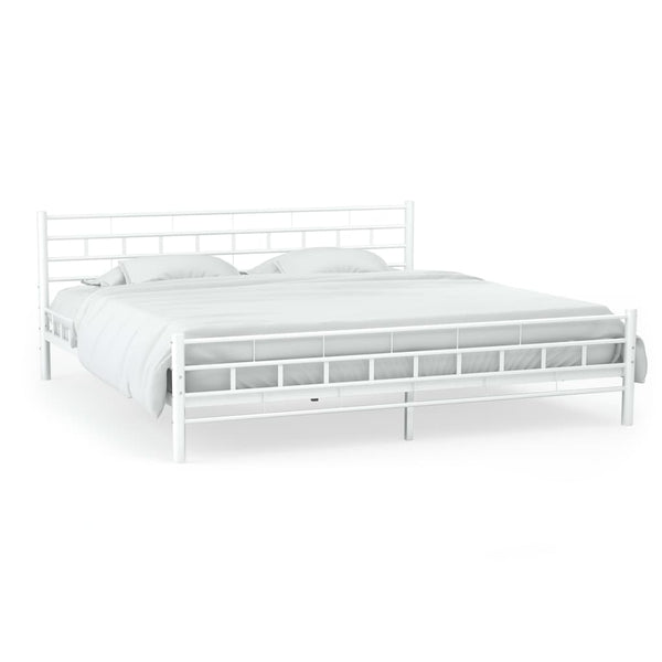 Metal Bed Frame Slatted Base 137x187cm Block Design White Double