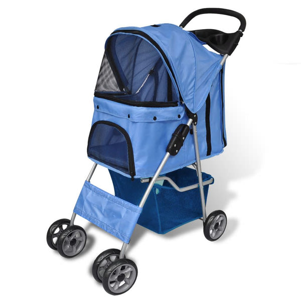 Pet Stroller Travel Carrier Blue Folding