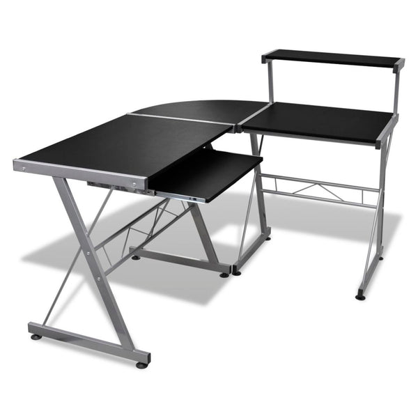 Computer Desk Workstation With Pull Out Keyboard Tray Black