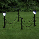 Chain Fence with Solar Lights Two LED Lamps Two Poles