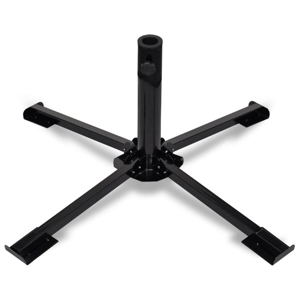 Foldable Umbrella Base Steel Black