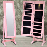 Pink Free Standing Jewellery Cabinet with LED Light and Mirror Door