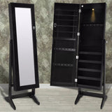 Black Free Standing Jewellery Cabinet with LED Light and Mirror Door
