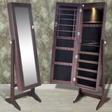 Brown Free Standing Jewellery Cabinet with LED Light and Mirror Door