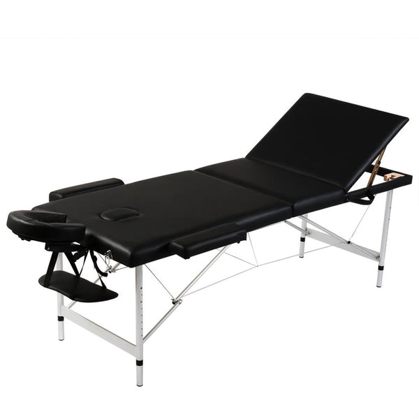Black Foldable Massage Table 3 Zones with Aluminium Frame
