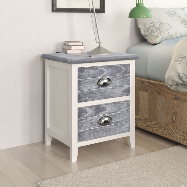 Nightstand 2 pcs with 2 Drawers Grey and White