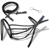 Leather Flash Bridle with Reins and Bit Black Full