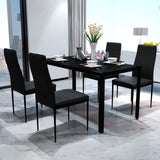 Five Piece Dining Table Set Black