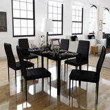 Seven Piece Dining Table Set Black